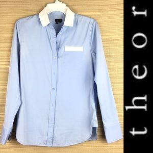 THEORY Light Blue Cotton White Button Down Shirt